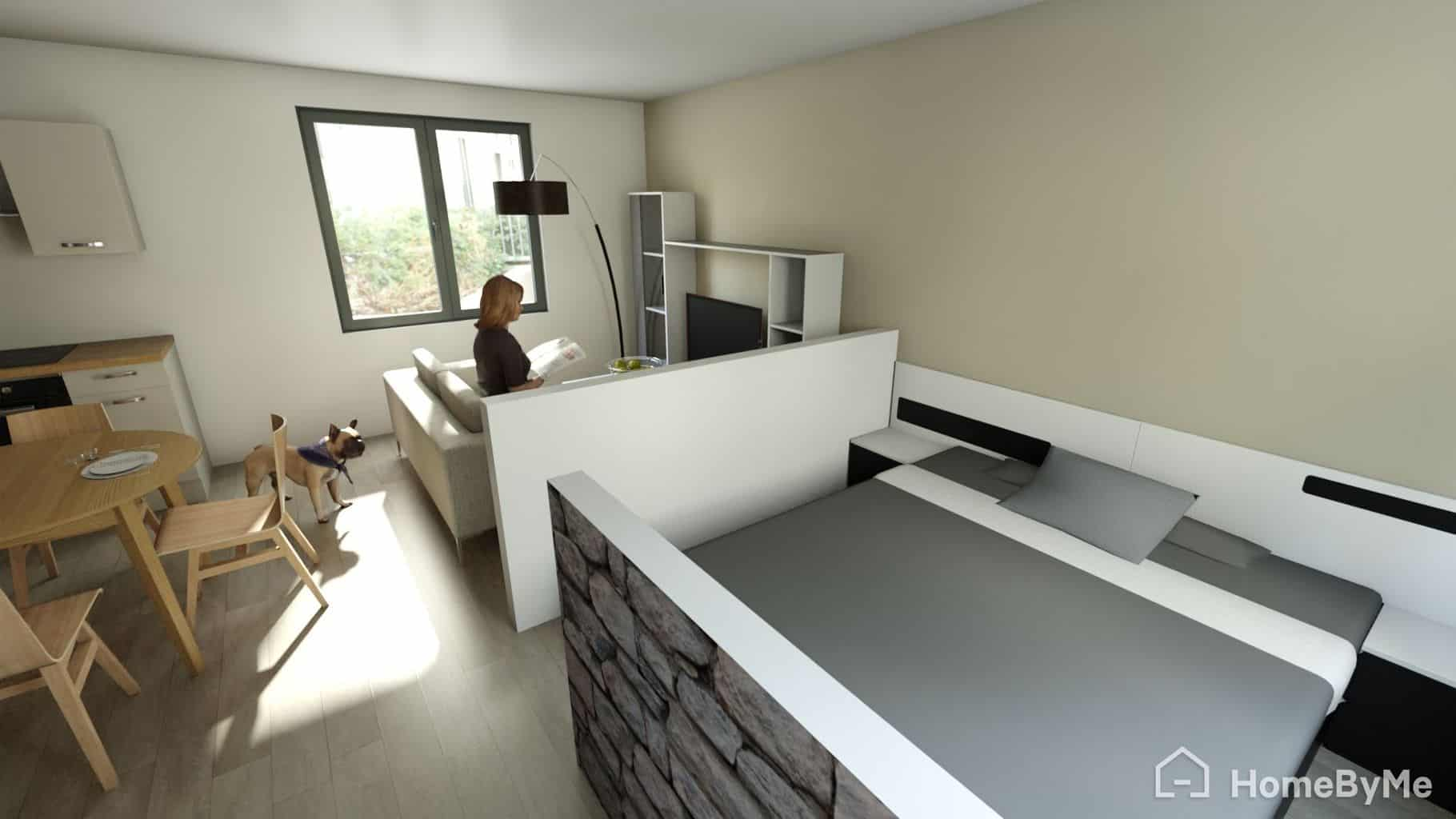 Chambre et Salon de notre Studio HomeByMe