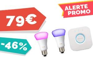 #VEILLE Le kit Philips Hue 2 ampoules color et pont pour seulement 79€