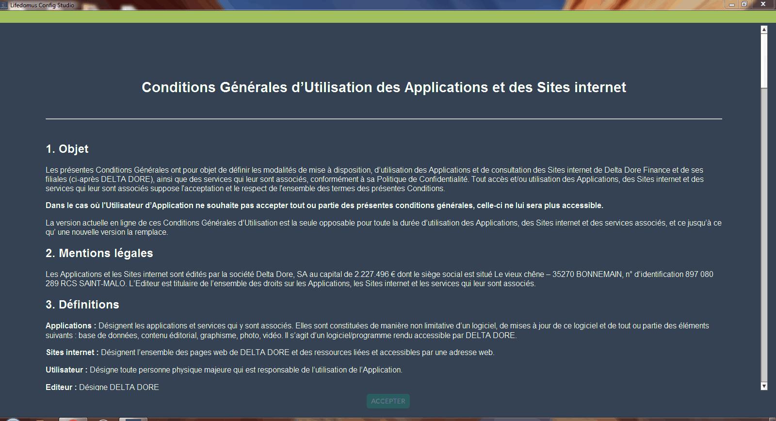 Contrat de Licence Découverte Config Studio