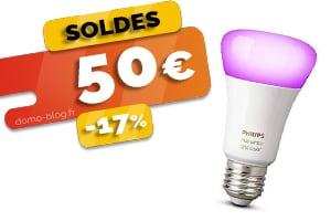 #VEILLE L'ampoule connectée Philips Hue E27 en #SOLDES pour seulement 50€